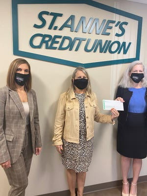 L-R Michelle Marcos, St. Anne's Senior Vice President of Human Resources; Kathleen Schedler-Clark, Steppingstone's Executive Director and Eileen M. Danahey, St. Anne's President & CEO.