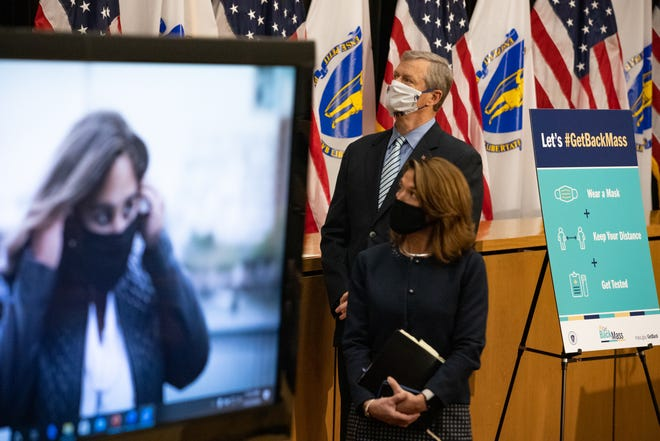 Gov. Charlie Baker and Lt. Gov. Karyn Polito watched as a sample advertisement from the administration's new #GetBackMass campaign played on screens in the Gardner Auditorium during a press conference Monday.
