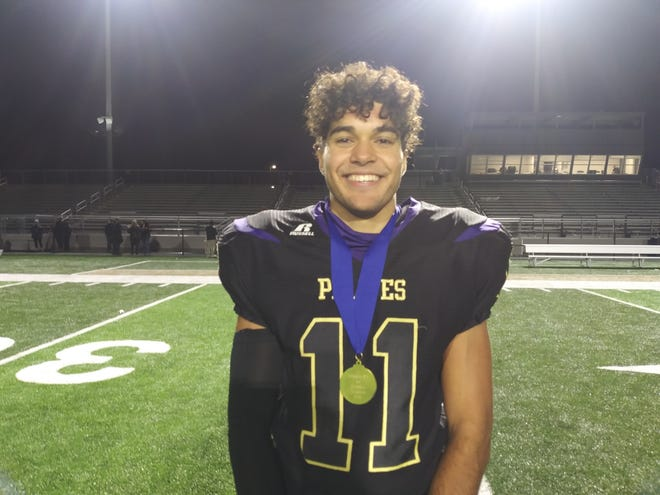Palisades senior Marcus Yearwood blocked a punt that led to the Pirates' first touchdown in their District 11 Class 2A title-game win over Northern Lehigh on Saturday.