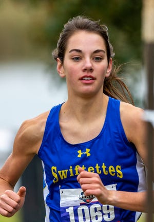 Nazareth's Emma Kleman finishes second in the UIL Class 1A girls state cross country meet Nov. 23 at Old Settler's Park in Round Rock.