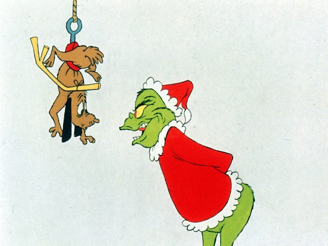 The Grinch, seen with his long-suffering dog, Max, in the 1966 animated classic, arrives in many forms, including an NBC stage musical, during the upcoming holiday season.