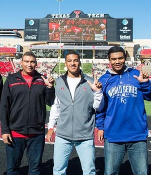 Left to right, first baseman-outfielder Josh Naylor, outfielder Trent Grisham and pitcher Tony Santillan pose for a photo before a Texas Tech football game in 2014. The three players signed to play baseball for the Red Raiders, but became high draft picks the next spring and signed professionally. Naylor and Grisham are in the Major Leagues now, and Santillan remains a top prospect of the Cincinnati Reds.