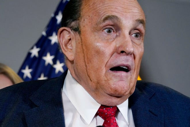 Former Mayor of New York Rudy Giuliani, a lawyer for President Donald Trump, speaks during a news conference at the Republican National Committee headquarters on Nov. 19.