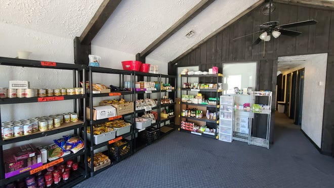 Food items offered at the food bank include vegetables, proteins, fruit, cereal and grains,