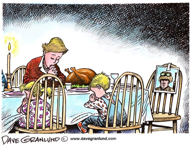 Dave Granlund cartoon about Thanksgiving for service families