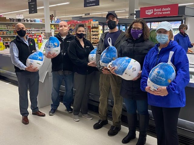 Pictured, from left, Stop & Shop Franklin Associates Eric Jezak and Mike Selzo, Store Manager Gianna Farrell, Franklin Food Pantry Transport Coordinator Andy Keesan, Operations Director Sue Kilcoyne, and Executive Director Lynn Calling.