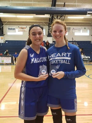 HEART's Brianna Garcia, left, won the 3 Point Shoot Out and Alyssa Keister, right, was named to the All-Tournament team.