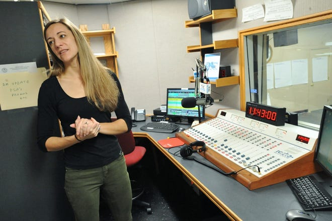 Talking Information Center Executive Director Anna Dunbar describes the master control room in the center's Marshfield studio on Friday, Feb. 15, 2019.