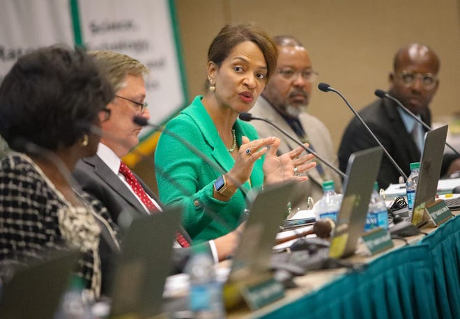 Palm Beach State College President Ava Parker is seen during a district board of trustees meeting at the school's Boca Raton campus in 2017.