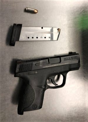 This photo shows the .9mm handgun and ammunition seized at a TSA checkpoint at Richmond (Va.) International Airport Saturday, Nov. 14, 2020. Authorities said the weapon belongs to a Dinwiddie County man who was leaving with his wife for a honeymoon in Hawaii.