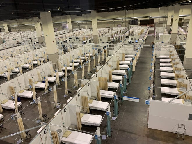 The R.I. Convention Center field hospital on Friday. The facility will open this week with a capacity of 100 COVID patients who need general medical care.