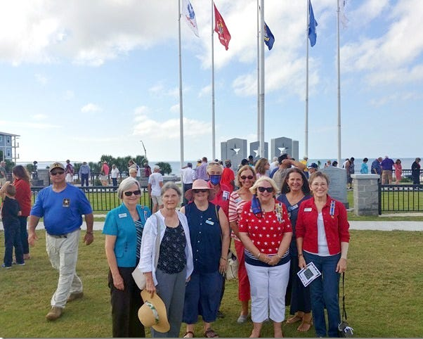 Some of the members of the St. Joseph Bay chapter of the NSDAR at the Veterans Day Honor Walk dedication