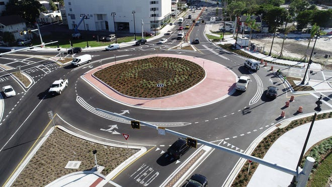 An eagle eye view of the newly opened Fruitville Road and U.S. 41 roundabout, which opened last week to traffic.
