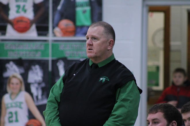 Jeff Parsons, basketball coach and athletic director at Wethersfield High School, stands on the sideline of a game on Feb. 4, 2020.