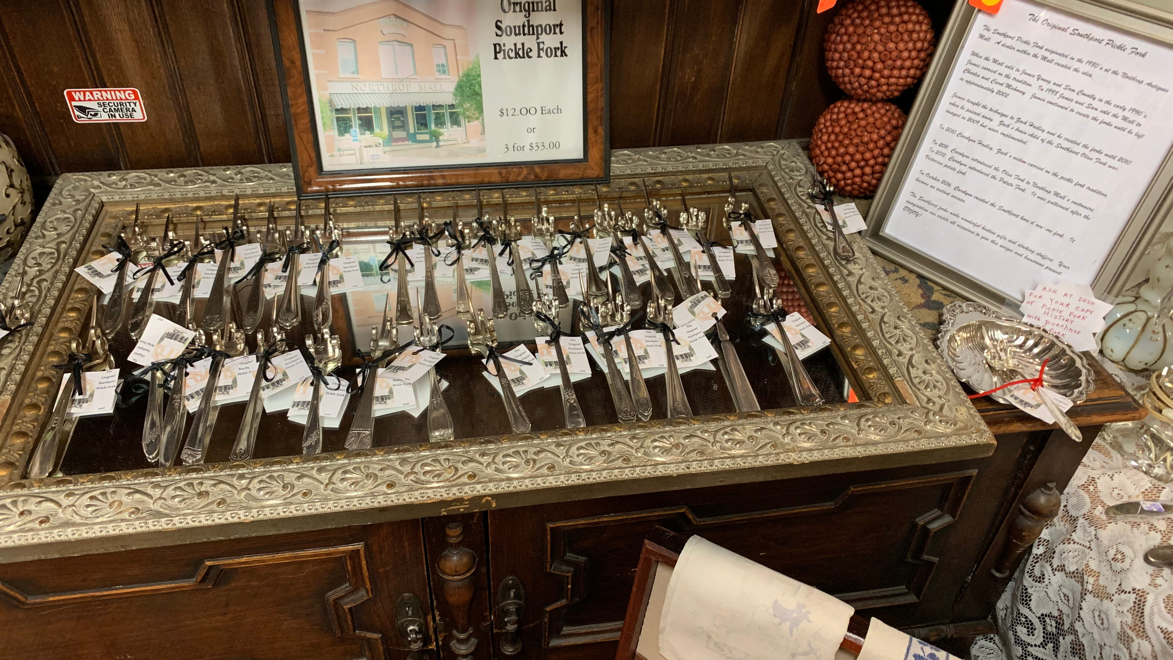 The Southport Pickle Fork was created in the 1980s and makes a great gift. Over the years, the olive fork, the potato fork and the Southport hors d'oeu-vre fork have come along and make great gift items.