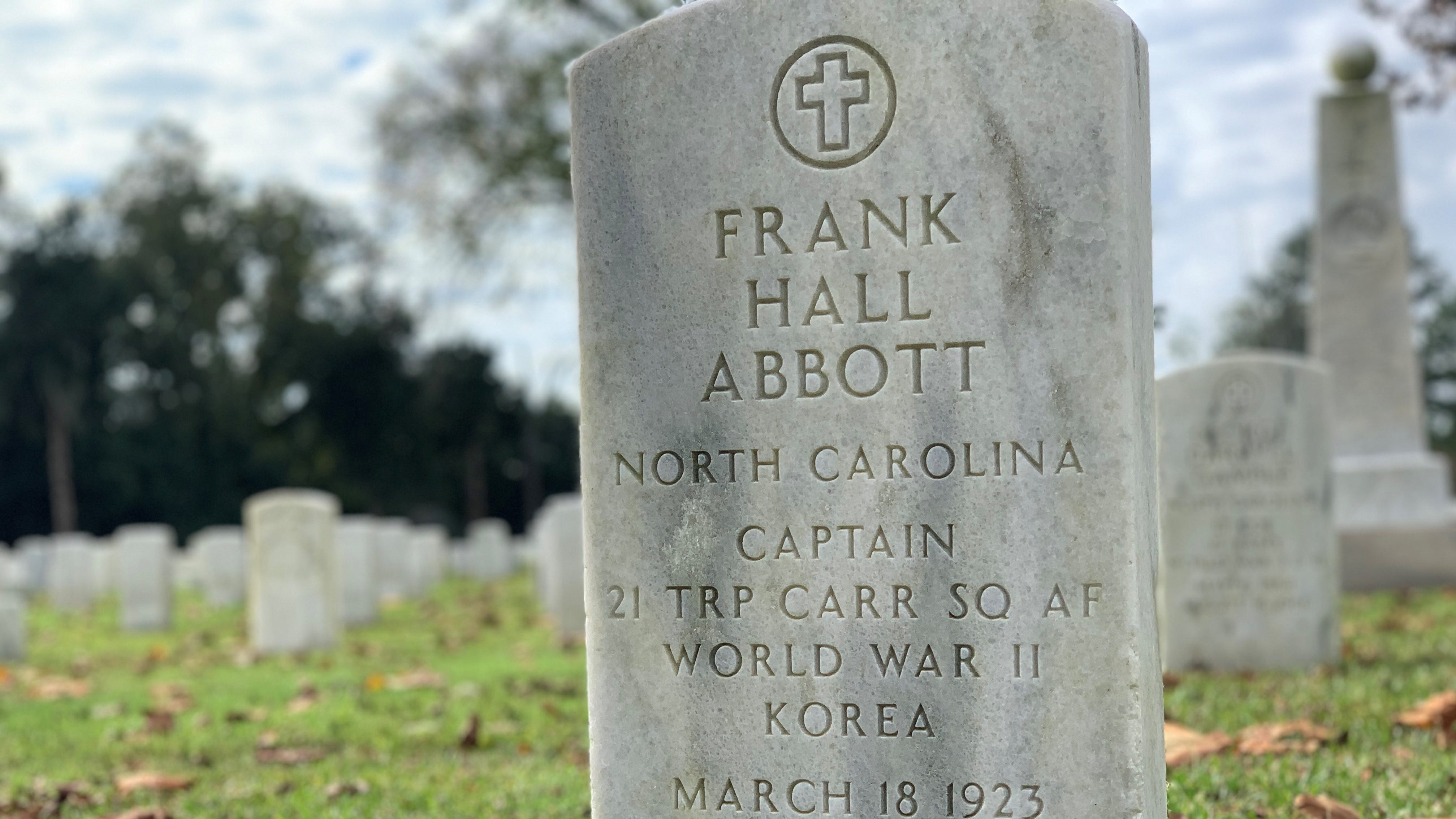 Captain Frank Hall Abbott, the pilot of the Marshall University football plane crash on Nov. 14, 1970, is interred in Section 11, Grave 7512 at the New Bern National Cemetery.