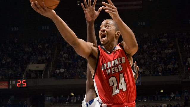 Takayo Siddle drives to the basket during Gardner-Webb's upset win over Kentucky in November 2007.