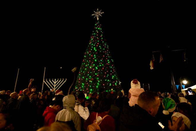 A large crowd attended the Lighting of the Wilmington Christmas tree at the foot of Market Street on November 29, 2019.