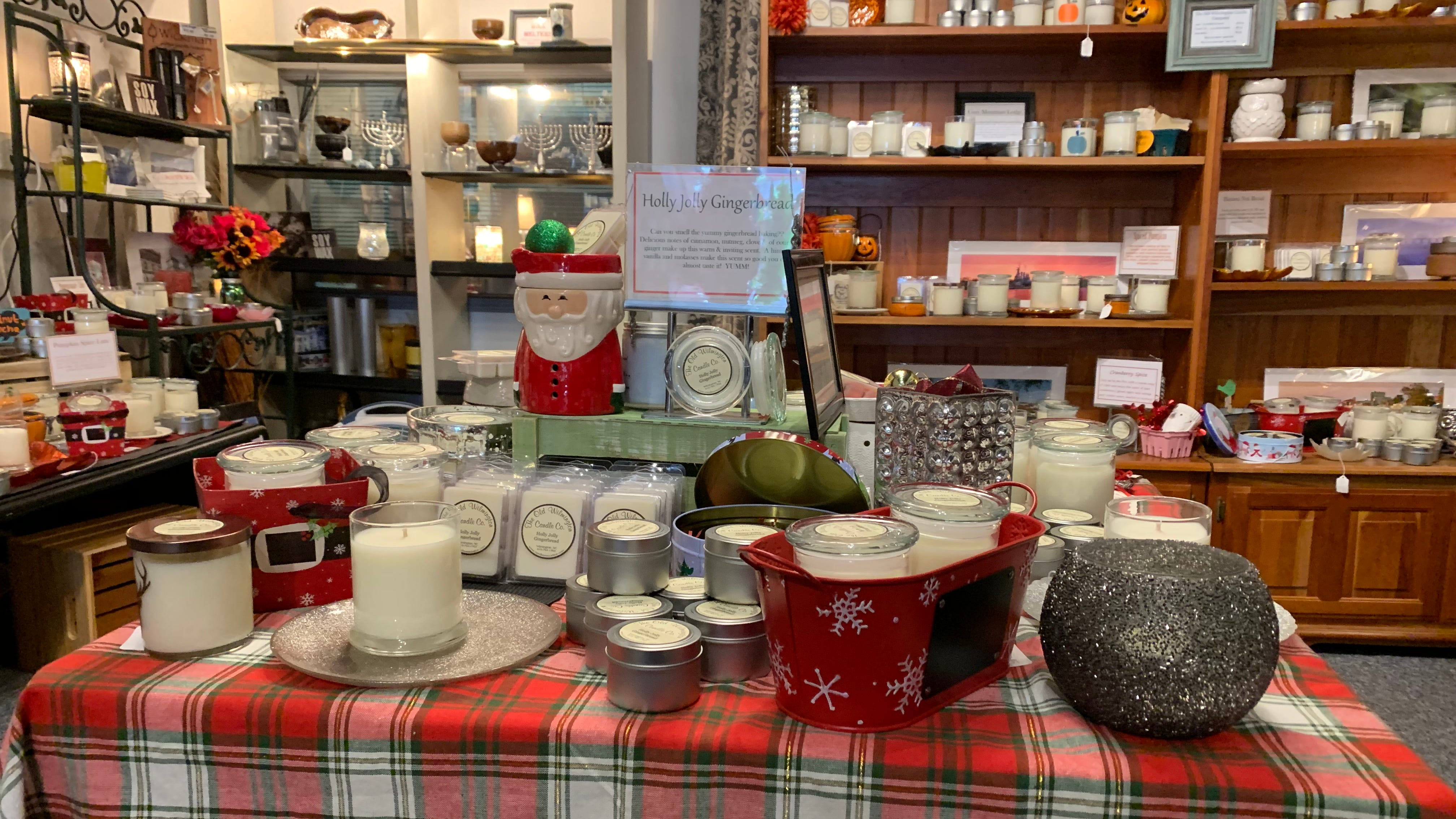 Candles Etc. offers many scents of candles and all are created in downtown Wilmington. The store has many Christmas gifts to choose from this holiday season