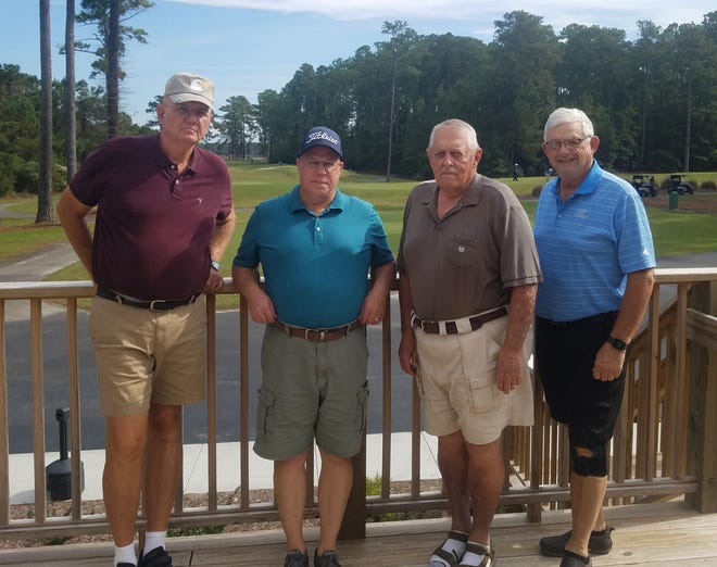 First place winners in the MGA Rainbow Tournament Gold Flight were Joe Pillow, Bob Martin, Jack Machold, and Charlie Henke. [CONTRIBUTED PHOTO]