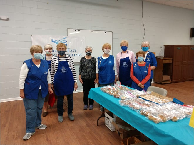 These Fairfield Harbour Hospital Auxiliary members helped with the bake sale during the Craft Fair. Left to right are Clare Ostrosky, Bake Sale Chair Janell Ringuette, Pat Williams, Mary Florence, Pam Gaskill, Jenny Nebe, Charlotte Morris, and Margaret Heberlein. [CONTRIBUTED PHOTO]