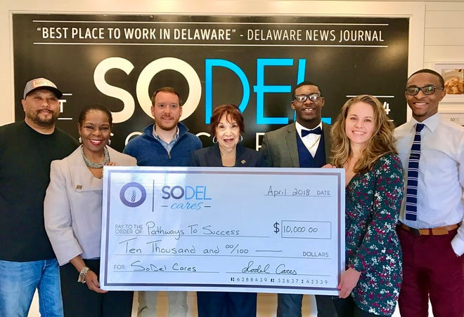 On Dec. 1 — Giving Tuesday — SoDel Concepts will donate 100% of sales from its 12 restaurants to SoDel Cares, the hospitality company's philanthropic arm which supports local organizations, including Pathways to Success. From left, back row, Corporate Chef Maurice Catlett, General Manager Jack Temple, Pathways to Success graduates Tyson Hicks and Jawon Sivel and, front row, Pathways to Success Executive Director Faye Blake, Pathways to Success community outreach coordinator Sarah Gilmour, and Lindsey Barry, controller for SoDel Concepts.