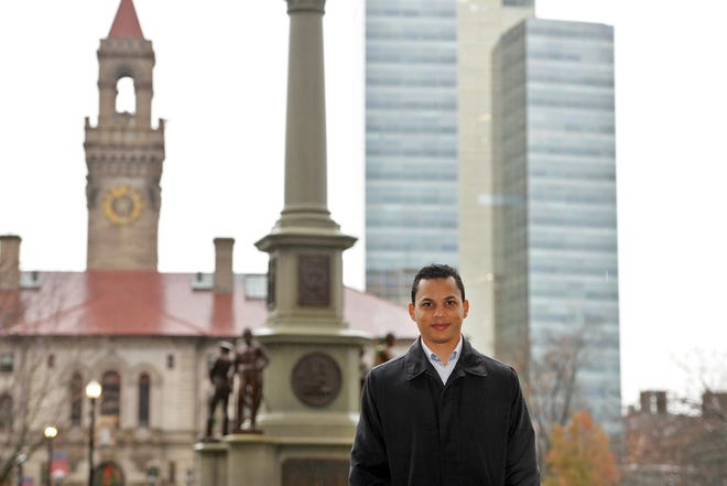 Purple Heart recipient Alex Arriaga, who served in Operation Iraqi Freedom, is director of Veterans' Services in Worcester.