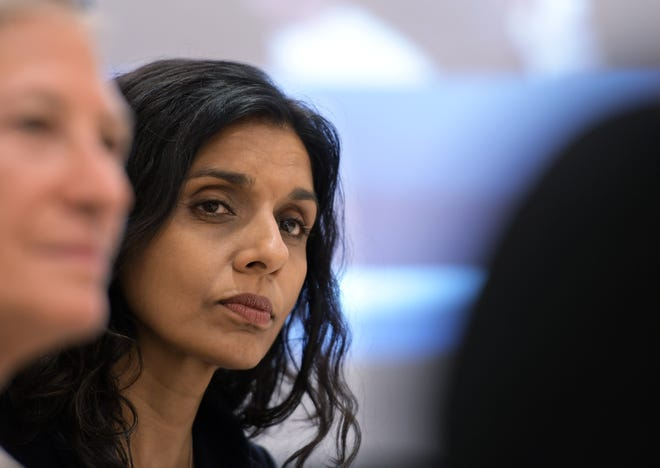 """""""We are asking individuals to consider the risks and to understand that the safest way to celebrate Thanksgiving this year is with our own households,"""" said Mass. DPH Commissioner Dr. Monica Bharel, seen here in a file photo."""