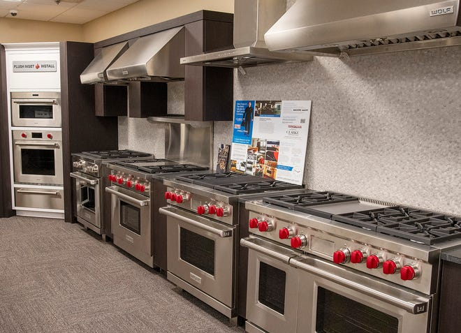 Kitchen appliances are on display in Percy's TV and Appliance in Worcester.