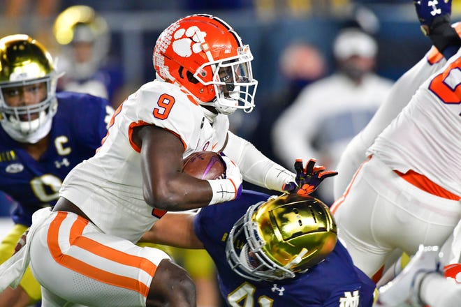 Clemson's Travis Etienne has run for 634 yards and 10 touchdowns to go with 491 receiving yards and a pair of TD catches in eight games this season.