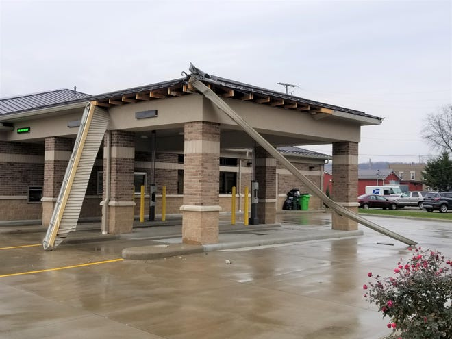 Damage at the bank in Strasburg is expected to be repaired soon.