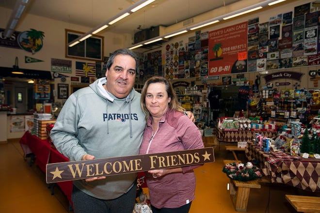 Steve and Nancy Prisco smile in their Bridgewater storefront. Prisco's has a variety of holiday gifts already out in the Bridgewater storefront on Tuesday, Nov. 17, 2020.