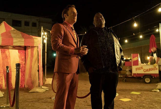 """Bob Odenkirk, left,  and Lavell Crawford appear in """"Better Call Saul."""""""