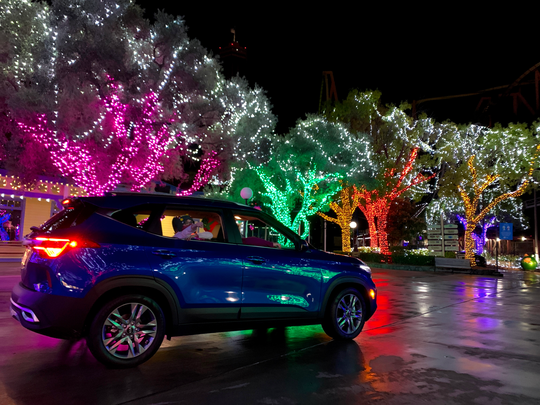The Holiday in the Park Drive-Thru Experience will be available Monday through Thursday evenings Nov. 30 through Dec. 17 at Six Flags Great Adventure.
