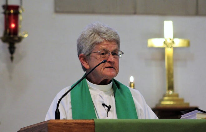 The Rev. Mary Glover took off her face mask to give her sermon Nov 15 at Grace Lutheran Church. She otherwise wore it to observe COVID-19 safety protocol.
