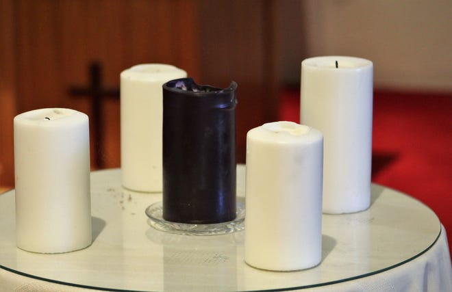 Advent candles ready for lighting.