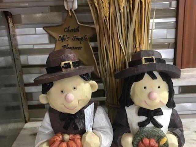 """Cherish life's simple pleasures"" urges the star behind this whimsical Pilgrim couple."