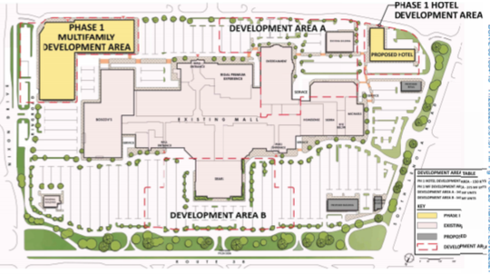 A concept plan for Moorestown Mall's redevelopment shows an apartment building, left, between Boscov's and Nixon Drive. A hotel would rise off Lenola Road.