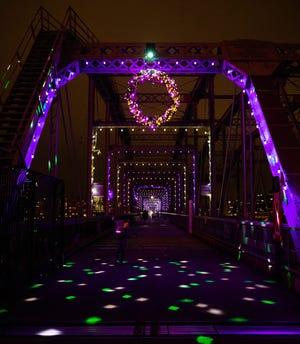 The Purple People Bridge is festively-lit this holiday season.