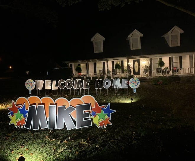 Friends of Mike and Shannon Blanken decorated their front yard and cleaned their house when they returned home on Oct. 10. Mike had spent time at four hospitals in just over three months since suffering a stroke in July.