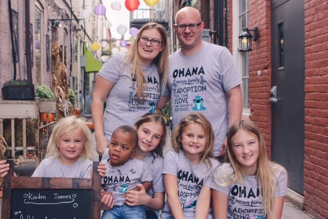 Ashley Setty, 32, and Jared Setty, 35, adopted Kaiden, 2, center, on Nov. 5, 2020. He now has four older sisters, Taylor, 5, Ella, 10, Addison, 7, and Sophia, 13.