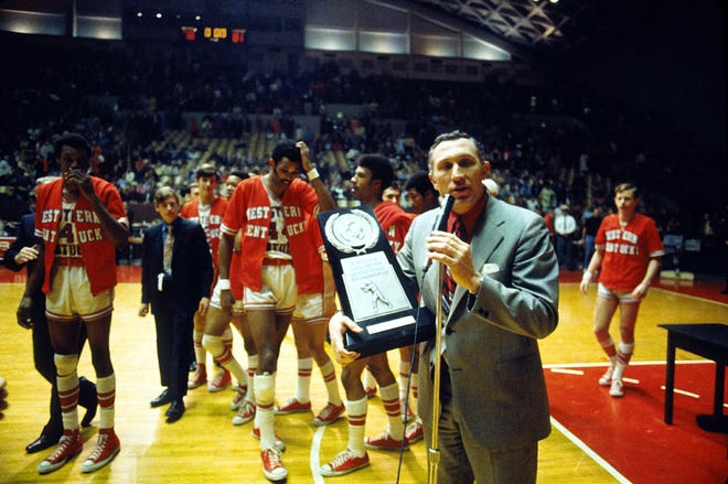 Head coach John Oldham spoke after Western Kentucky University's overtime victory over Ohio State to advance to the Final Four of the 1971 NCAA Tournament.