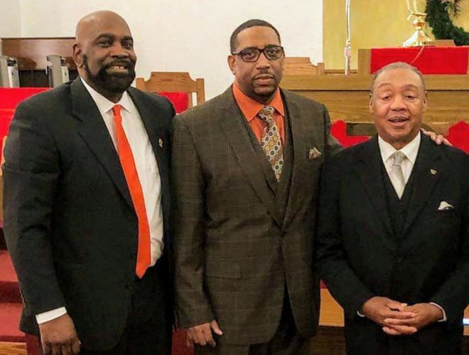 Bishop Gregory Draper, (left), from Mount Zion Missionary Baptist Church is teaming up with Bishop Corredon Rogers, (middle), from the New Hope Baptist Church and Superintendent Mike Wade, (right), of the True Faith Church of God in Christ to host a Christmas dinner giveaway Wednesday at Mount Zion.