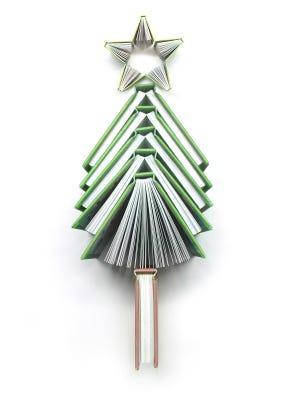 Books form a Christmas tree.