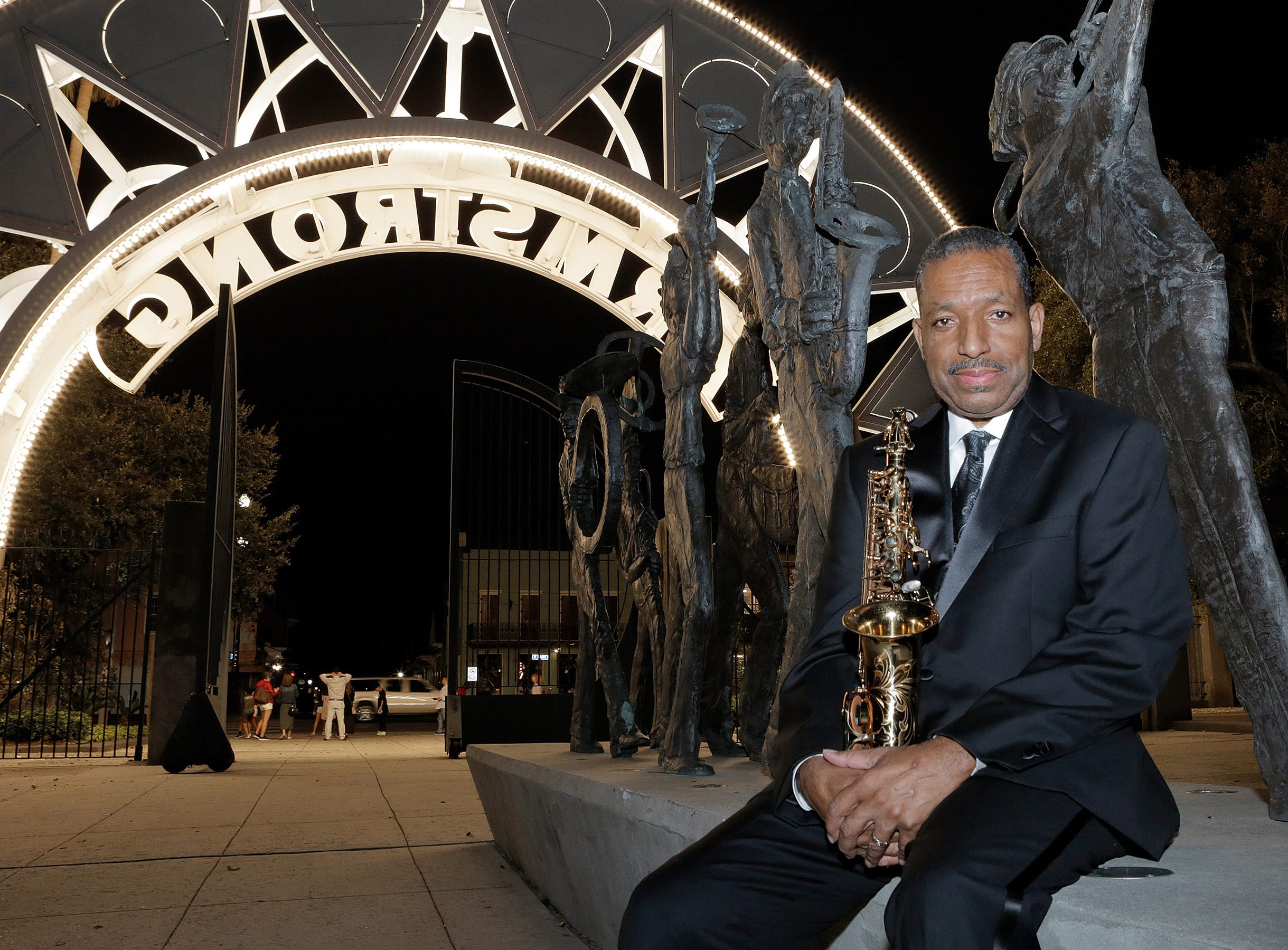 New Orleans jazz legend Donald Harrison poses at the entrance to Armstrong Park where Congo Square is located. Harrison is the Big Chief of the Congo Nation Afro-New Orleans Cultural Group, which keeps alive the traditions of Congo Square.