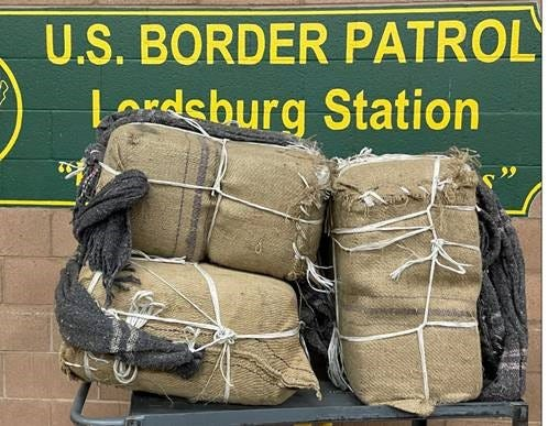 Border Patrol agents found about 139 pounds of marijuana within these burlap sacks found Friday, Nov. 20, in southwest New Mexico.