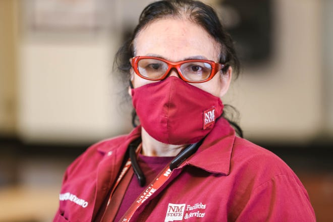 Lucero Nevarro, at New Mexico State in Las Cruces on Monday, Nov. 23, 2020, has been a custodial worker on campus for the last eight years.