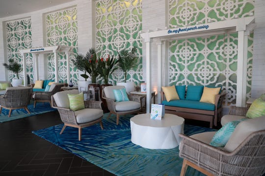 The front lobby of Margaritaville Resort Palm Springs is pictured in Palm Springs, Calif. The resort opened on November 24, 2020.