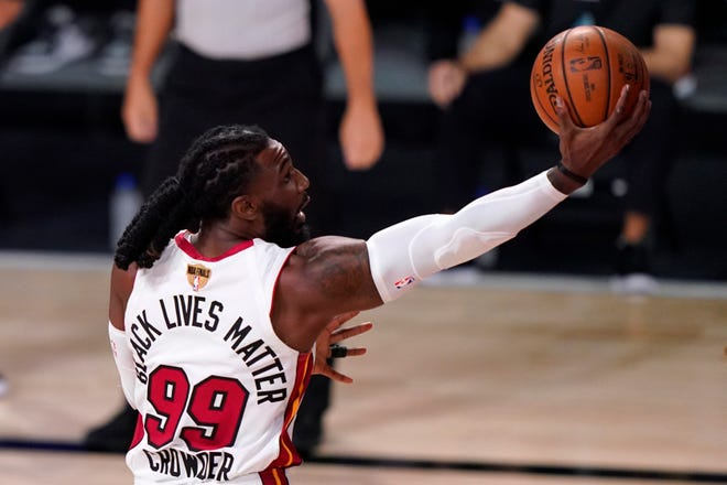 Miami Heat's Jae Crowder shoots during the first half of Game 2 against the Los Angeles Lakers in basketball's NBA Finals, Friday, Oct. 2, 2020, in Lake Buena Vista, Fla. (AP Photo/Mark J. Terrill).