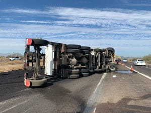 A dump truck crash has caused a closure on westbound Interstate 10 at Riggs Road near Sun Lakes on Nov. 23, 2020.